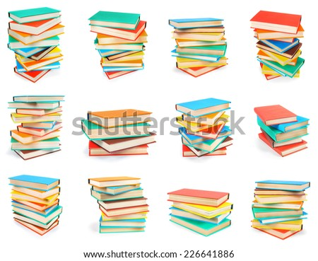 Big set from piles of books. On a white background. - stock photo