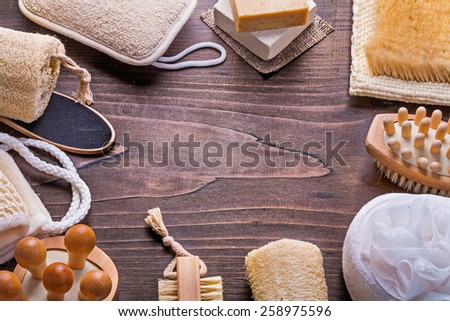 big set of bath accessories on vintage wooden board with copyspace  - stock photo