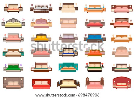 bedroom furniture clipart. big set of beds with bedside tables, lamps and headboards. bedroom furniture group in clipart r