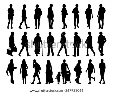 big set of black silhouettes of men and women of different ages walking in the street, front, profile and back views