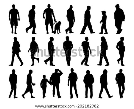 big set of black silhouettes of men of different ages walking in the street - stock photo