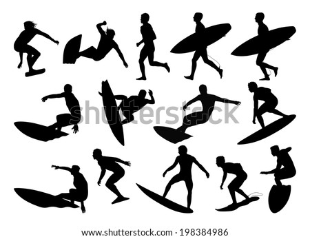 big set of black silhouettes of surfers standing on their boards surfing the waves - stock photo