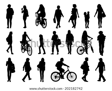 big set of black silhouettes of women of different ages walking in the street and riding a bicycle - stock photo