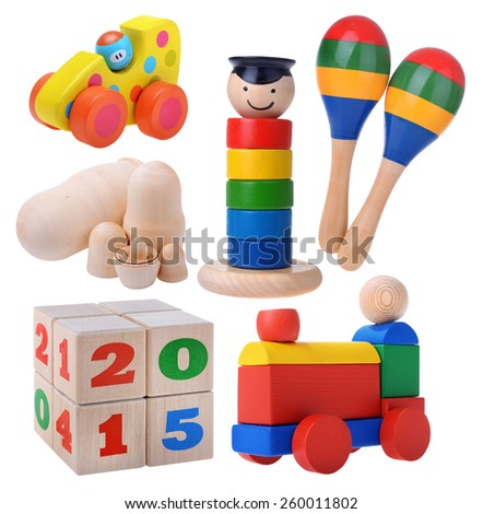 Big set of classic wooden toys - stock photo
