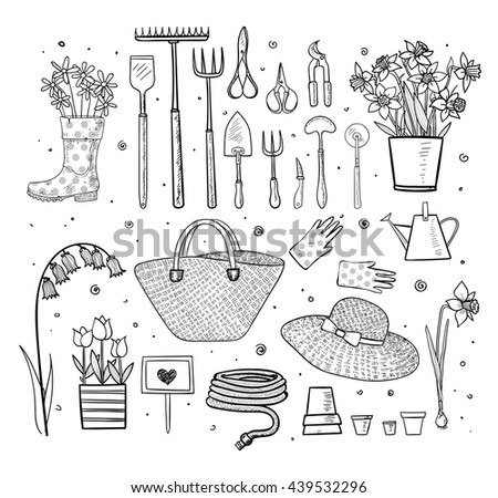 Big set handdrawn sketch garden elements stock vector for Gardening tools drawing with names