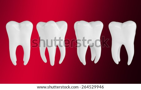 Big set of healthy teeth on red- black background - stock photo