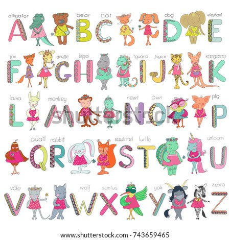 Big Set Of Kids Alphabet With Cute Animals And Letters Elements Zen Tangle Doodling