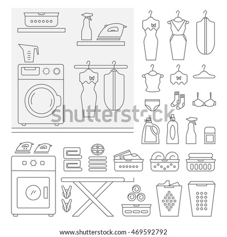 Big Set Of Laundry Icons Room Interior Element Isolated