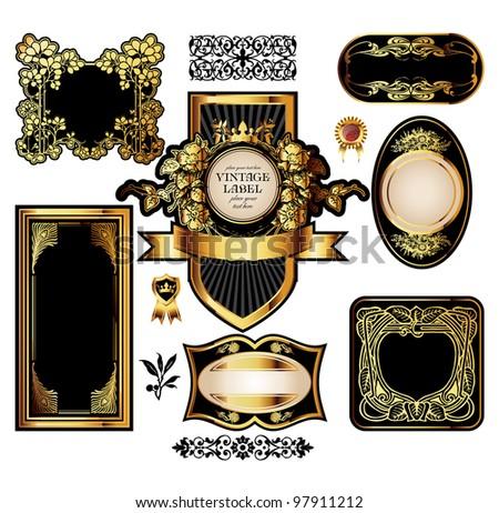 big set of luxury labels - stock photo