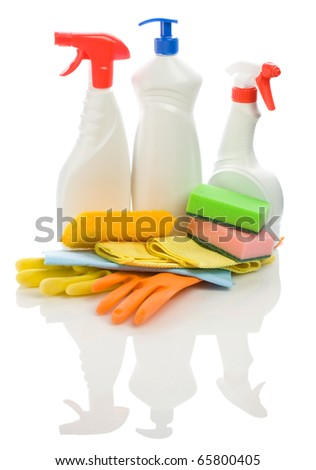 big set of objects for cleaning