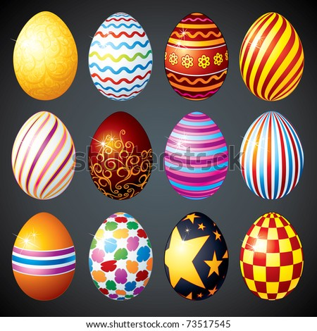 Big set of painted eggs designed for Easter Day (version vector please see at my gallery) - stock photo