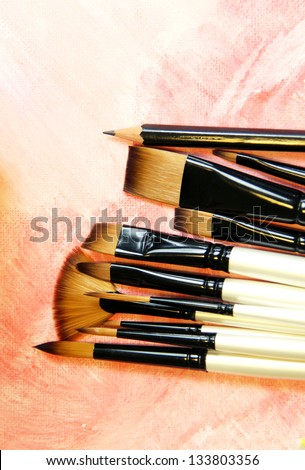 Big set of professional paintbrushes