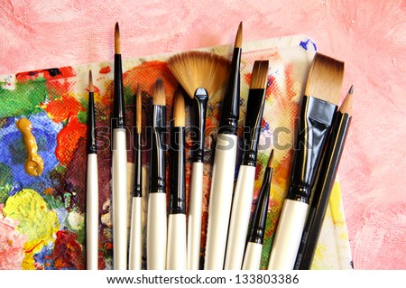Big set of professional paintbrushes - stock photo