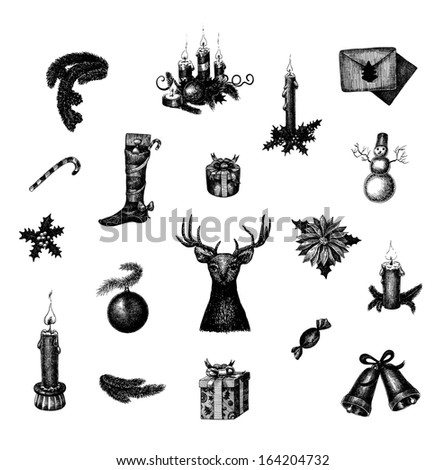 Big set of raster hand drawn Christmas and New Year symbols - stock photo