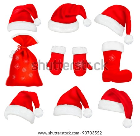 Big set of red santa hats and clothing. Raster version of vector.