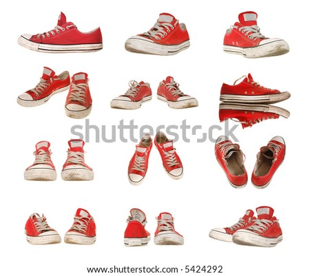 Big set of red sneakers isolated on pure white, size is 5085x4300 - stock photo