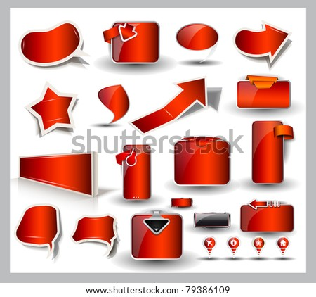 Big set of red style sale and advertisement arrows, bubble speech elements, stickers, web panels, promotional label and pins. - stock photo