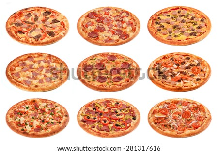Big set of the best Italian pizzas isolated on white background