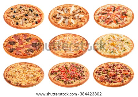 Big set of the best Italian pizzas isolated on white background - stock photo
