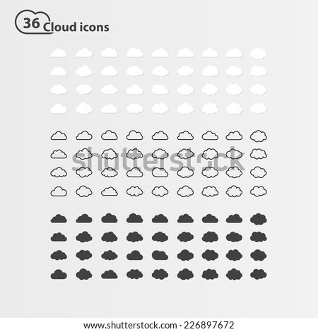 Big  set of thirty-six cloud shape ,white cloud shape,black line cloud shape,black cloud shape. cloud icons, sign for web and app, for cloud computing and so on, isolated on a white background - stock photo