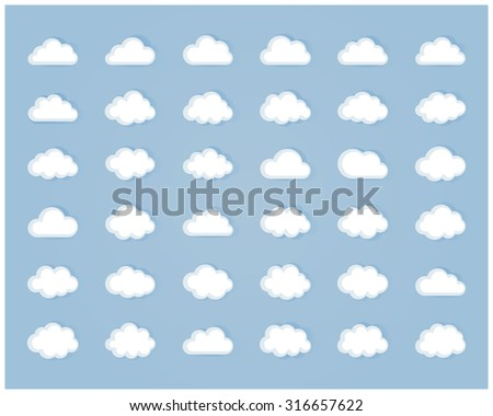 Big  set of thirty six white cloud  shapes, cloud icons,sign,symbol,pictogram for web and app, for cloud computing and so on in flat style - stock photo