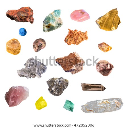 Big set of various valuable isolated minerals including bauxite, apatite, opal, basalt, azurite, copper, corundum, ammonite, amber, gips, garnet, pyrite, quartz, sulfur, fluorite on white background