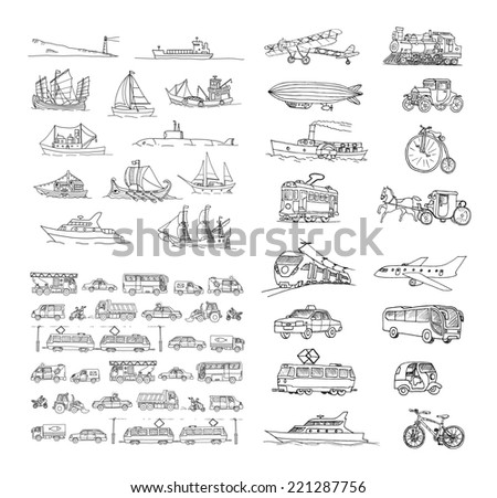Big set with different transport. Passenger transport. Traffic. Retro transport.  Set with boats.