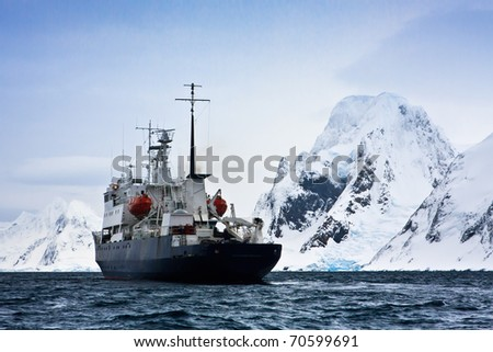 Big ship in Antarctic waters