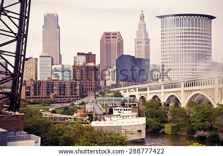 Big Ship on Cuyahoga River in Cleveland - stock photo