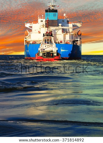 Big ship view from the stern at sea. - stock photo