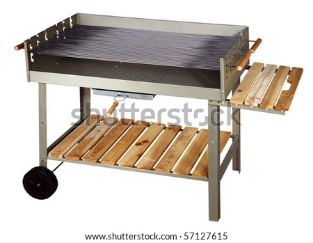 Big silver barbecue grill. Isolated on white background - stock photo