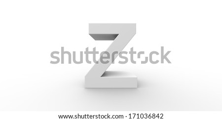 Big silver letter on a white background