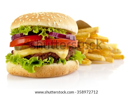 Big single cheeseburger with french fries isolated on white background - stock photo