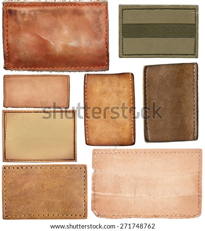 Big size set of blank leather jeans labels isolated on white background - stock photo