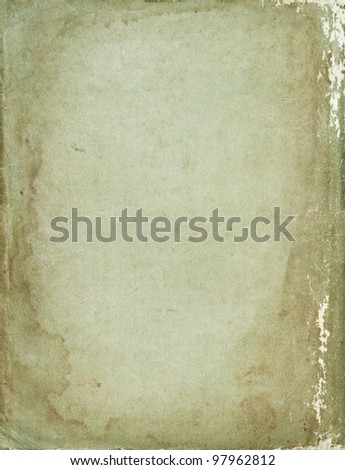 Big size shabby vintage retro paper background with stained dark borders - stock photo