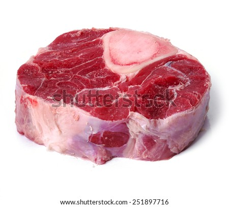 Big slice of meat on a white background