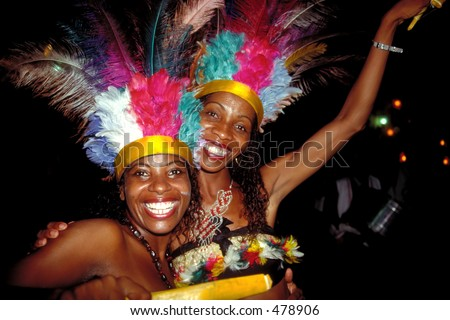 Big Smiles during Carnival - Salvador da Bahia, Brazil - stock photo
