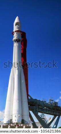 Big space rocket  at launching platform - stock photo