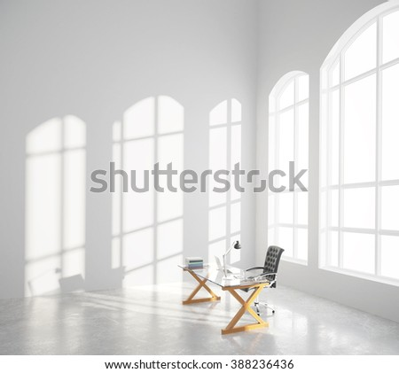 Big spacious room with big window, concrete floor and workplace at sunrise, 3D Render