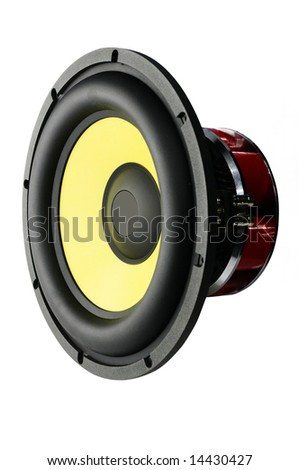 Big speaker for car sound (isolated) - stock photo