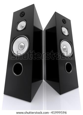 Big Speakers Wide - stock photo