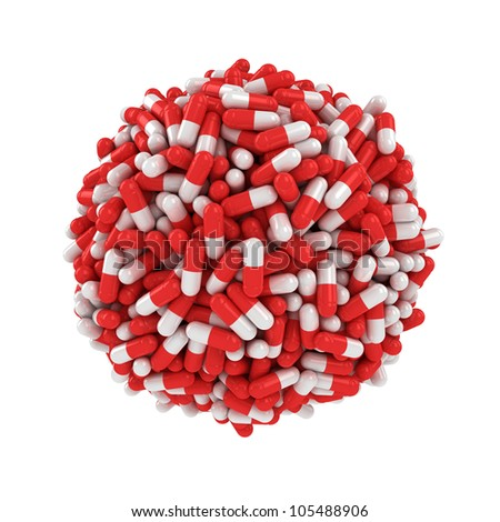 Big sphere made from many red-white capsules - stock photo