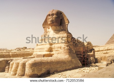 Big Sphinx. Pyramids, megalithic structures of ancient civilization