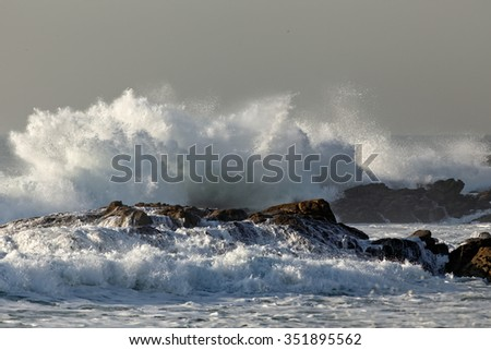 Big splash of a stormy sea wave breaking against rocks from portuguese northern coast. Soft backlight.