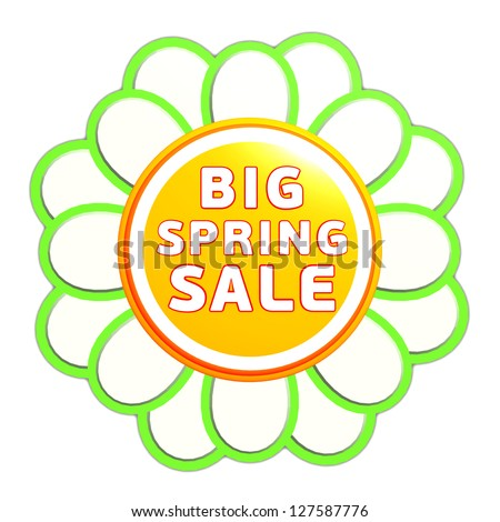 big spring sale banner - 3d green orange flower label with white text, business concept - stock photo