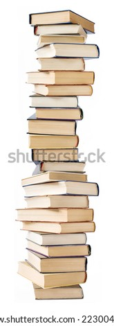 Big stack of books isolated on white background - stock photo