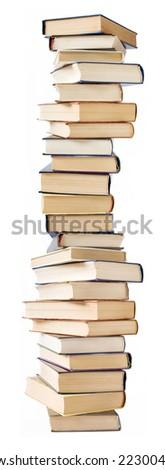 Big stack of books isolated on white background - stock photo