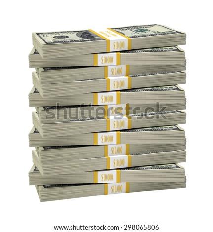Big stack of dollar on isolated white background - stock photo