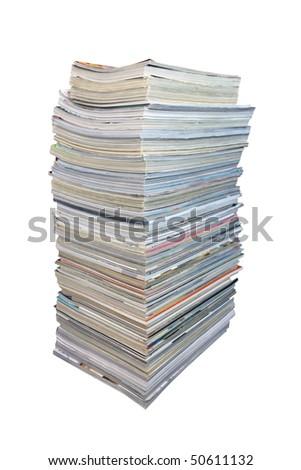 Big stack of magazines - stock photo