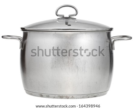 big stainless steel saucepan covered by glass lid isolated on white background - stock photo